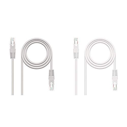 NanoCable 10.20.0120 - Cable de red Ethernet RJ45 Cat.5e UTP AWG24, Gris, latiguillo de 20mts + 10.20.0110-W - Cable de red Ethernet RJ45 Cat.5e UTP AWG24, Blanco, latiguillo de 10mts
