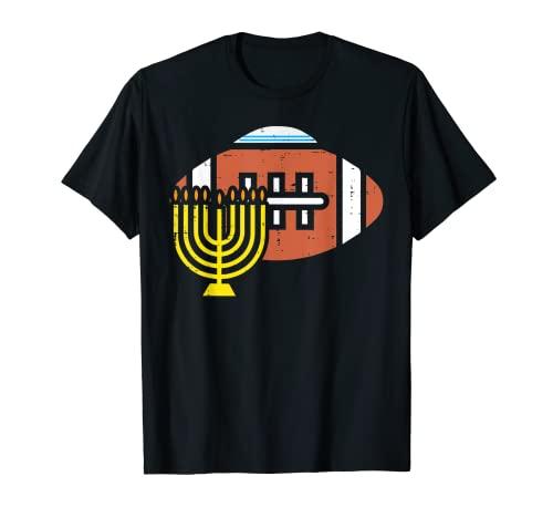 American Football Menorah Hanukkah Chanukah Sports Jew Gift T-Shirt