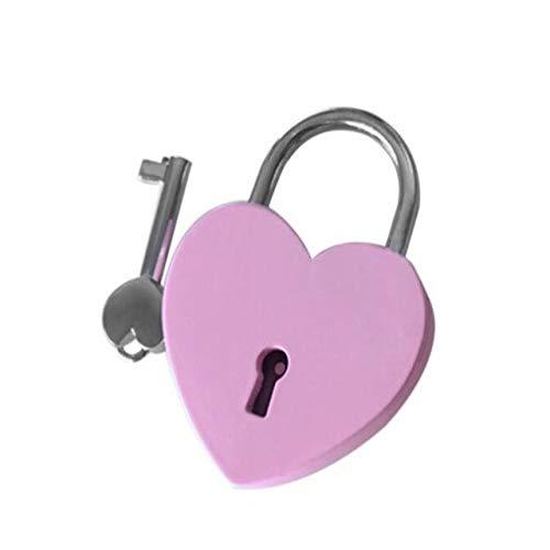 Vorhängeschloss 7 Farben Mini Love Shape Lock Gepäck Tasche Gym Locker Vorhängeschloss Mit Schlüssel Vorhängeschloss Für Handtaschen Micro Craft Tagebuch Box Lock Pink