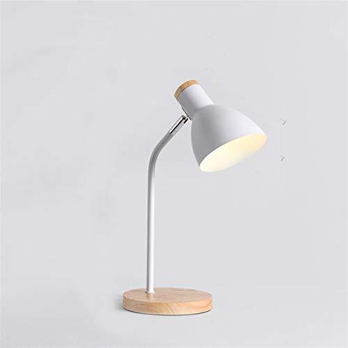 Lámpara de Escritorio 110V 220V E27 Lámpara de mesa de madera 4 colores Metal Shade Sky Light Bedroom Dormitorio de lectura ajustable Libro de lectura Light Home Lighting ( Lampshade Color : White )