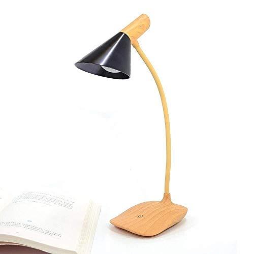 Lámpara de mesa Lámpara Moderna Nórdica Industrial Diseño simplista LED Lámpara de escritorio con función de conservación de energía y base de madera de imitación for dormitorio, estudio, pantalla neg