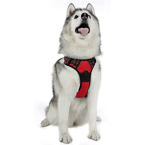 rabbitgoo No-Pull Hundegeschirr atmungsaktiv Brustgeschirr Geschirr für Hunde Welpengeschirr Reflexstreifen Sichere Führung Einstellbar Weich Rot XL