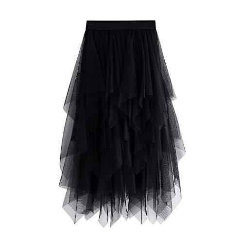 WangsCanis Damen Tüllrock Elastische Taille Unterrock Ballettrock Faltenrock Maxirock Sheer Tutu Tüll Rock, Einheitsgröße, Schwarz Knielänge