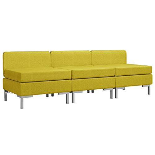 vidaXL 3X Sofás Centrales Seccionales con Cojines Muebles Sofá de Salón Asiento Intermedio de Jardín Patio Exterior Elástica Tela Amarillo