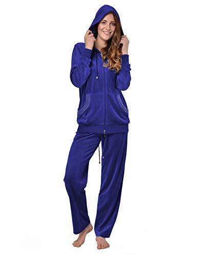 RAIKOU Damen Micro Velours Freizeitanzug Hausanzug mit Reißverschluss Nicki-Anzug Zweiteiliger Schlafanzug mit Strasssteinen (44/46, Royal Blau)