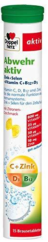 Doppelherz Abwehr aktiv Brausetabletten mit Zitronen-Geschmack – Nahrungsergänzungsmittel mit Zink, Selen sowie den Vitaminen C, B12 & D3 zur Unterstützung des Immunsystems – 1 x 15 Brausetabletten