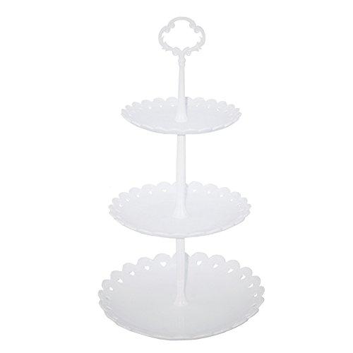 hetoco 3-Tier-weiß Kunststoff Dessert Ständer Gebäck Ständer Kuchen Ständer Cupcake-Ständer Halterung Servierplatte für Party Hochzeit Home Decor weiß