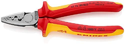 KNIPEX Alicate para crimpar punteras huecas aislado 1000V (180 mm) 97 78 180 SB (cartulina autoservicio/blíster)