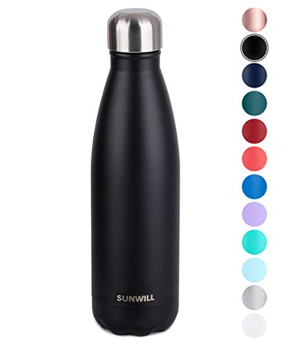 SUNWILL Insulated Stainless Steel Water Bottle Powder Coated Black, Vacuum Double Wall Sports Water Bottle 17oz, Cola Shape Travel Thermal Flask