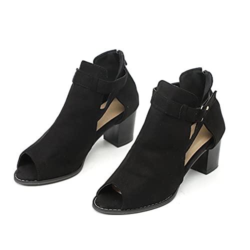 Sandalias de verano para mujer nuevas sandalias de tacón grueso, moda femenina peep toe bloque tacones gladiador estilo romano zapatos de gamuza con hebilla, color Negro, talla 40 EU