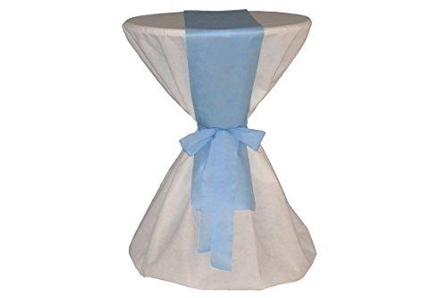 Sensalux Kombi-Set 1 Stehtischhusse 70-80cm, weiß + Tischläufer 15cm x 2,50m, hellblau (Farbe nach Wahl)