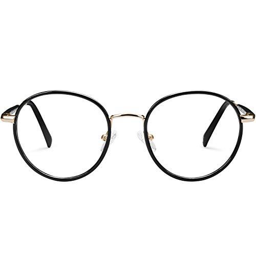 Carfia Runde Damen Brille mit Blaulichtfilter ohne Sehstärke Anti-Blaulicht Blockierende Computerbrille, Verringerung der Augenbelastung