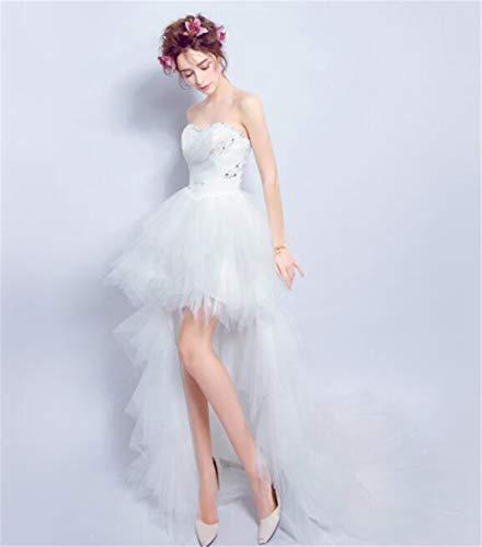 LYJFSZ-7 Damen Braut Perlen Kurze Kurze Lange Schwanz Brautkleid Abendkleid Weiß