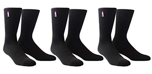 PKWY Unisex NBA Logoman 3-Pack Socks (Crew Length - Black, Medium)