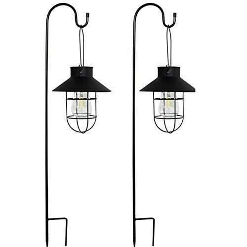 Azly Lampes solaires suspendues, Lampe de Lanterne avec Crochet de Berger, lumières d ampoule Edison imperméables en métal, pour Chemin extérieur de Jardin, Paquet de 2,Noir,Round