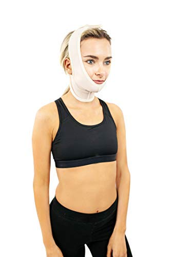 Compression Facial Mask, Post Surgery Neck Compression Garment, – Neck Wrap or Chin & Neck Lift Mask for Neck Surgery, Facial Surgery, Face Lift, Chin Lift, Oral Maxillofacial Surgery & More (S330)