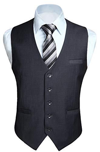 HISDERN Gilet da uomo Business Solid in cotone color panciotto da uomo