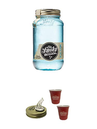 Ole Smoky Moonshine Blue Flame (128 proof) 0,7 Liter MAGNUM + Ole Smoky Ausgiesser + Ole Smoky Shot Becher rot 2 Stück