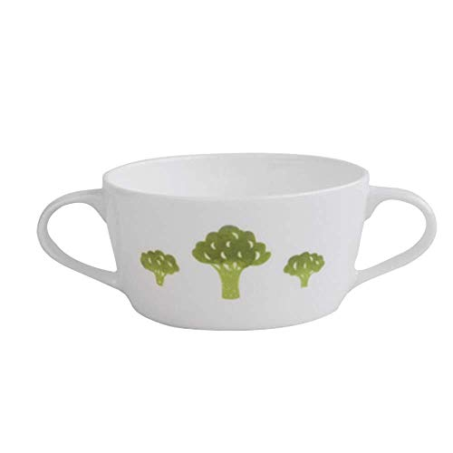 HJXSXHZ366 Keramikschale Schüssel, Keramik Geschirr, Mikrowelle, binaurale Schüssel, Müsli Western Dessert Obstsalat Schüssel Suppenbrei Schüssel, Spülmaschinenfest (Color : Broccoli)