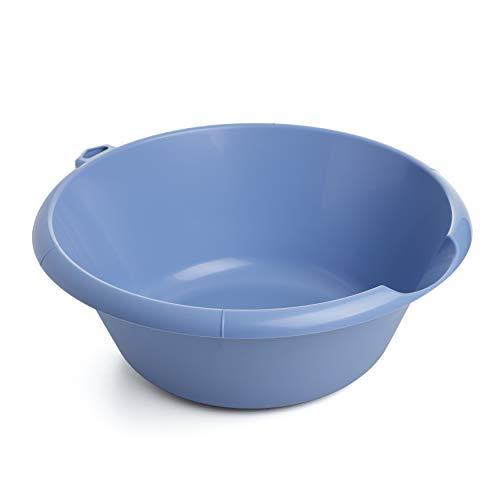 Tatay Barreño de plástico Redondo con vertedor, 10 litros de Capacidad, PP Libre de BpA, Azul
