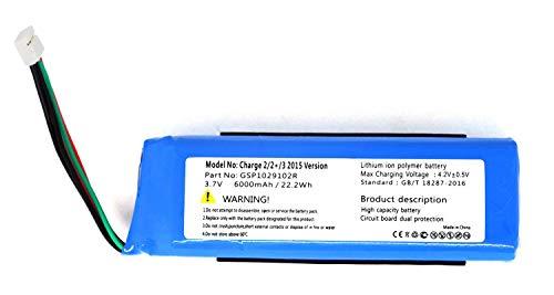 Onlyguo 3.7V 6000mAh GSP1029102R Batería de Repuesto para JBL Charge 2 2 Plus Charge 3 Versión 2015