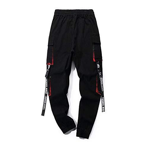 Hip Hop Black Cargo Pants Hose Männer Ribbons Streetwear Joggers Jogginghose Overalls Herren Hosen-1_L.