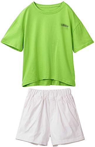 ZRFNFMA Chicas Verano Medio Manga Niños Ropa Casual Boy Moda Manga Corta Chica Pantalones Cortos Traje, Verde Traje Verde-150cm