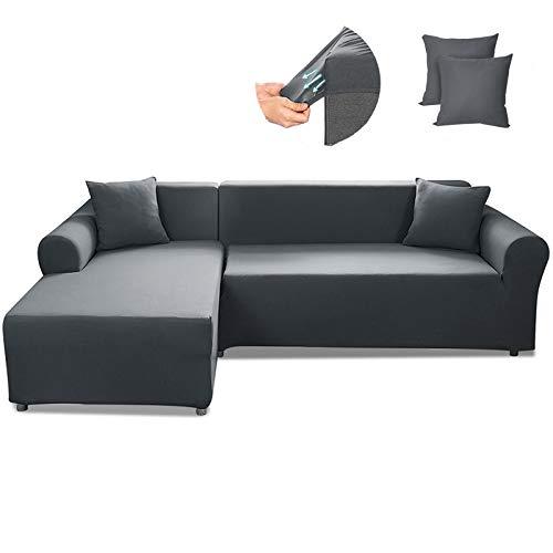 CAVEEN Sofa Überwürfe 2 teilig 3 Sitzer + 3 Sitzer, Elastisch Stretch Sofabezug L Form 2er Set mit 2 Stück Kissenbezug Sofabezüge Sofa Überzug Couch Bezug Sofaüberwurf L Form Sofa Abdeckung Dunkelgrau