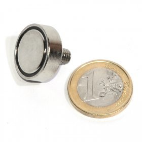 123-magnet Aimant néodyme Ø 20 mm avec Tige filetée, Force d'adhérence ~ 12 kg