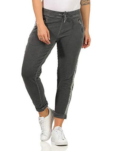 ZARMEXX Damen Hose Sweatpants Vintage Baumwolle Freizeithose mit Zierstreifen 816133 Business Casual Jogstyle,,Dunkelgrau,M