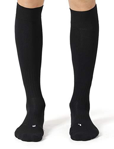 CelerSport 2 Pack Soccer Socks for Youth Kids Adult Over-The-Calf Socks with Cushion, Black (2 Pack), Medium