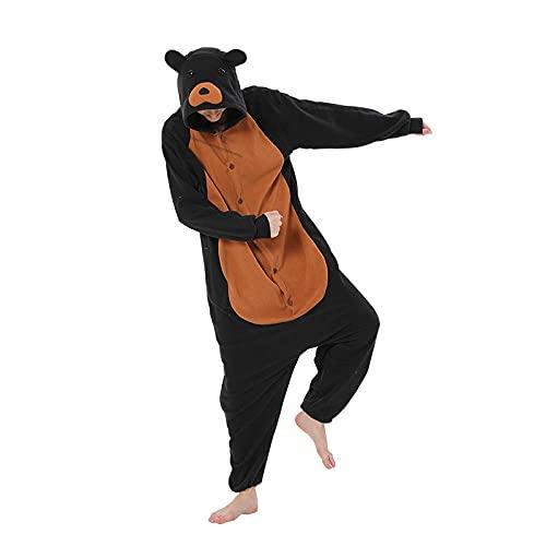 WEIYIing Pijamas de Mujer Oso Onesies para Adultos Hombres Pijama de Dibujos Animados Disfraz de Animal Cosplay Mono de una Pieza Oso Onesie_L