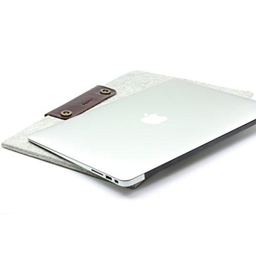 Urcover Handgefertige Designer MacBook Pro 13 Zoll (43,5 cm) Tasche Sleeve Hülle EXTRA Fach für Maus Ladekabel etc. Notebooktasche Ultrabook-Schutzhülle Laptophülle in Hell Grau Dunkel Braun