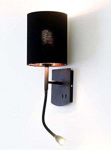 Appliques Murales Lampe Murale LED Mur Lampe Tête De Lit Chambre Hôtel Salon Étude Avec Commutateur En Fer Forgé Bureau D'étude Couloir Décoration Showroom Salle De Bains Mur Lampe,Black