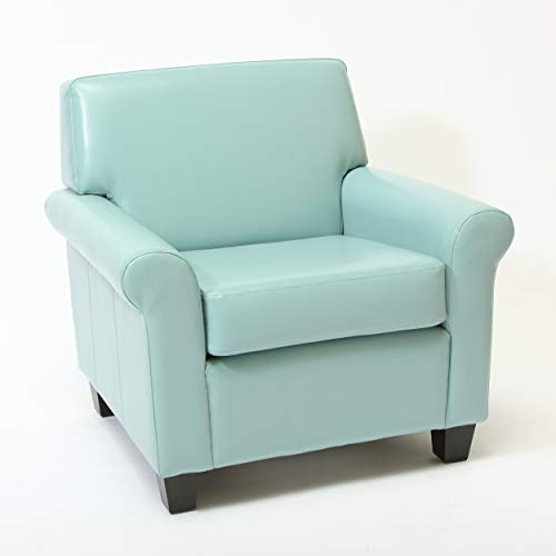 Christopher Knight Home Yonkers Oversized Bonded Leather Club Chair, Teal Blue