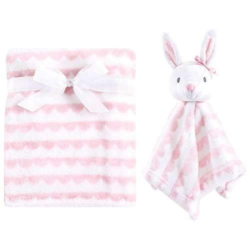 Hudson Baby Unisex Baby Plush Blanket with Security Blanket, Pink, One Size