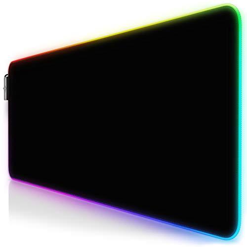 CSL-Computer Titanwolf - RGB Gaming Mauspad - LED Schreibtischunterlage - 800x300 mm - XXL Mousepad - LED Multi Color - 11 Beleuchtungs-Modi - 7 LED Farben Plus 4 Effektmodi - Schwarz