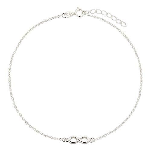 Fußkettchen, Fußkette Ankerkette aus 925 Sterling Silber als Fußschmuck für Damen und Mädchen, Länge 22-25cm, Modell 62