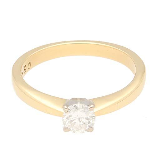 Anello solitario da donna in oro giallo 18 carati con diamante da 0,50 carati (misura N), 5 mm