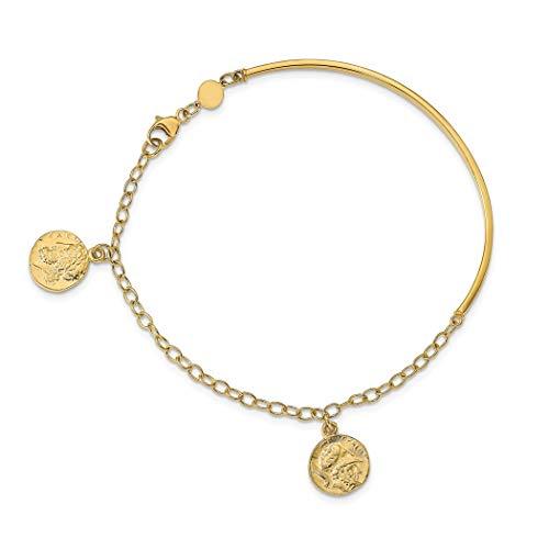 Pulsera apilable de oro pulido de 1,75 mm de 14 quilates con moneda romana apilable, regalo de...