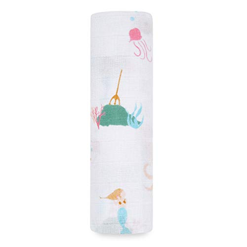 aden + anais Swaddle Blanket, Boutique Muslin Blankets for Girls & Boys, Baby Receiving Swaddles, Ideal Newborn & Infant Swaddling Set, Perfect Shower Gifts, Single, Mermaids