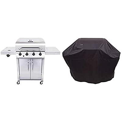 Char-Broil 463375919 Performance Stainless Steel 4-Burner Cabinet Style Liquid Propane Gas Grill & All-Season Grill Cover, 3-4 Burner: Large