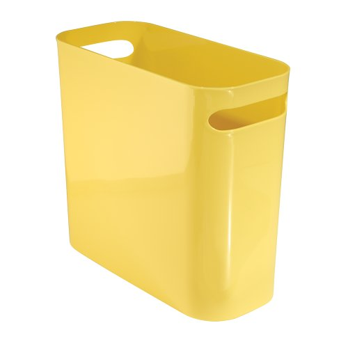 Price comparison product image InterDesign 93075EU Una Rubbish Bin with Handles,  Plastic Wastepaper Bin for Office,  Kitchen or Bedroom,  Yellow