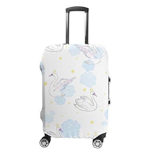 CHEHONG Funda para maleta de equipaje, diseño de cisnes blancos, flores azules, funda protectora lavable, fibra de poliéster elástica, a prueba de polvo, se adapta a 45,7 a 76,2 cm
