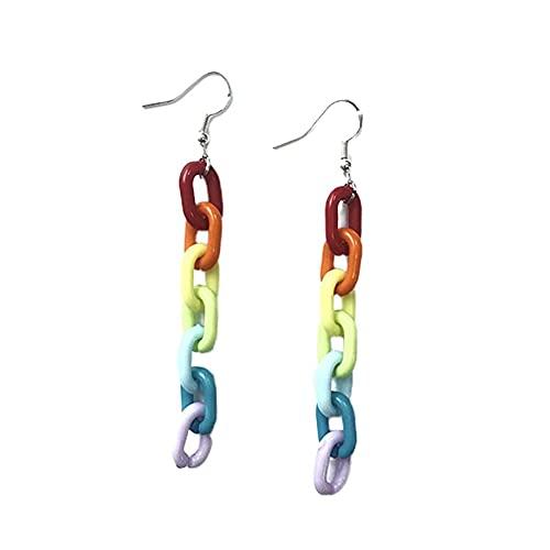 Ygerbkct Pendientes Divertidos de Cadena de plástico acrílico con Hebilla de arcoíris Retro Infantil, Pinzas para los oídos, Pendientes de Gota con Cadena de arcoíris Vintage