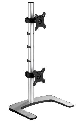 Atdec VFS-DV Visidec Dual Vertical Freestanding Desk Mount for 2 Displays up to 27-Inch, Silver