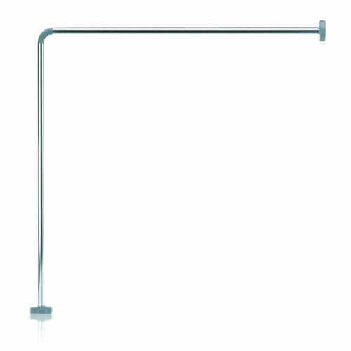 Kela 20993, Duschstange für Duschvorhang, L-Form, Aluminium, Ø 2,5 cm, L 90 cm x B 90 cm, Cant, Silber Glänzend