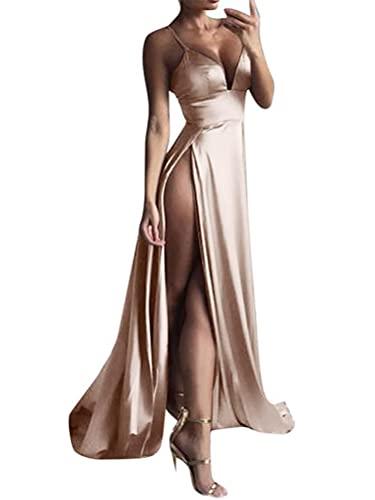 Minetom Donna Estate Vestiti da Sera Lungo Abiti da Cocktail Senza Maniche Scollo A V Dress Senza Schienale D Champagne 38