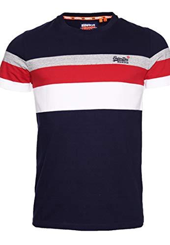 Superdry OL Classic Yd Stripe Tee T-Shirt, Bleu (Rich Navy Adq), 2XL Homme