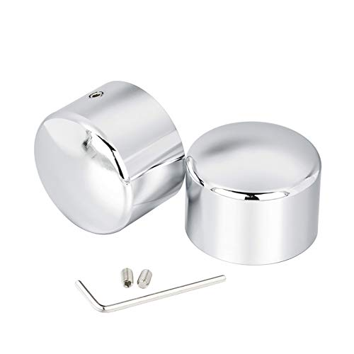 Benlari Chrome Front Axle Nut Cover Caps Compatible for Harley Davidson Touring Softail Sportster Dyna Trike Electra Street Road Glide Road King Fat Boy 2002-2019
